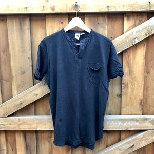 Linen Cotton Blend Almost Black Navy Blue T-shirt